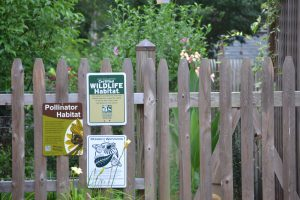 fence with bird habitat sign